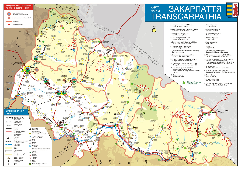 Mapa Mapa Ukrajina Zakarpatska